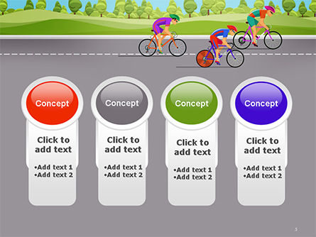 Bicycle Race Illustration PowerPoint Template Slide 5