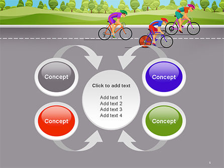 Bicycle Race Illustration PowerPoint Template Slide 6