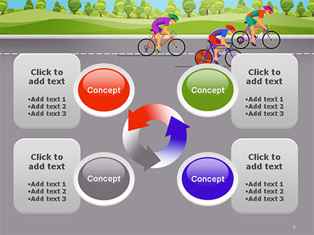 Bicycle Race Illustration PowerPoint Template Slide 9