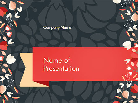 Floral Border with Pattern PowerPoint Template