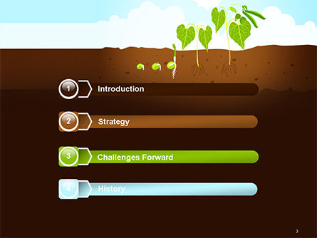 Peas Plant Growth Illustration PowerPoint Template, Slide 3, 14680, Agriculture — PoweredTemplate.com