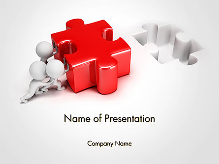 3D Small People Pushing Puzzle Powerpoint Template, Backgrounds