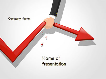 Business Concepts: Businessman's Hand Pulling Red Arrow PowerPoint Template #14689