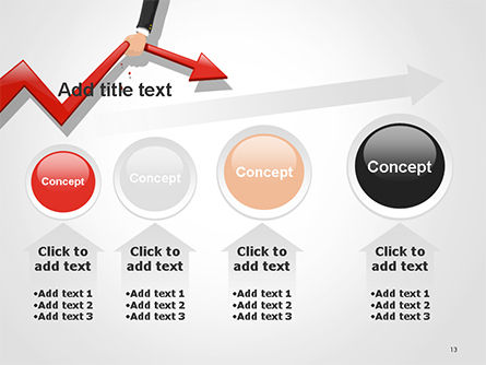 Businessman's Hand Pulling Red Arrow PowerPoint Template Slide 13
