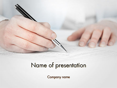 Business: Business Woman Signing Contract PowerPoint Template #14691