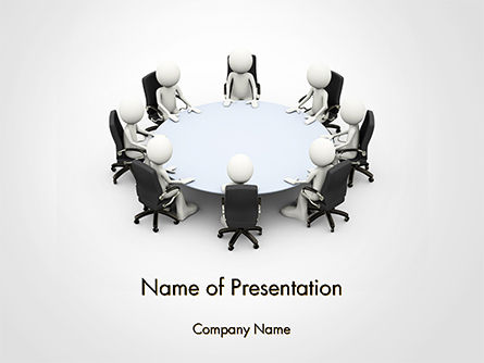 3D Business People Sitting Around a Conference Table PowerPoint Template, 14695, 3D — PoweredTemplate.com