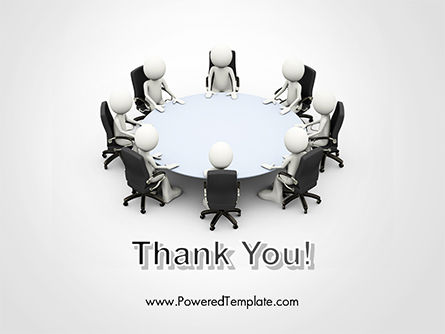 3D Business People Sitting Around a Conference Table PowerPoint Template Slide 20