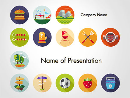 Barbecue and Picnic Icons PowerPoint Template, 14697, Sports — PoweredTemplate.com