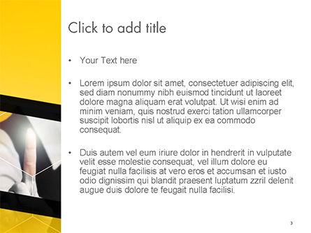 Businesswoman Pressing a Button on Virtual Screen PowerPoint Template, Slide 3, 14698, Business Concepts — PoweredTemplate.com