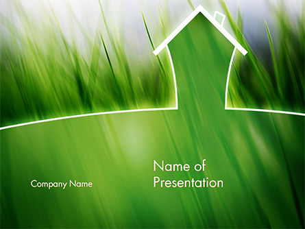 Nature & Environment: Green House Outline PowerPoint Template #14702