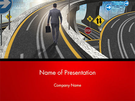 The Businessman Facing Different Roads PowerPoint Template, 14704, Business Concepts — PoweredTemplate.com