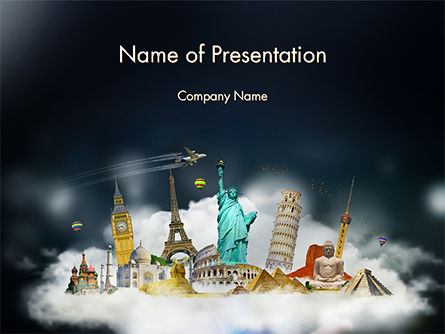 3D: Cloud Full of Famous Monuments PowerPoint Template #14707