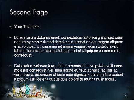 Cloud Full of Famous Monuments PowerPoint Template, Slide 2, 14707, 3D — PoweredTemplate.com