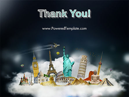 Cloud Full of Famous Monuments PowerPoint Template Slide 20