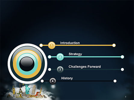 Cloud Full of Famous Monuments PowerPoint Template Slide 3