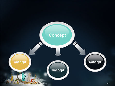 Cloud Full of Famous Monuments PowerPoint Template Slide 4