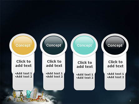 Cloud Full of Famous Monuments PowerPoint Template Slide 5