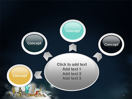 Cloud Full of Famous Monuments PowerPoint Template Slide 7