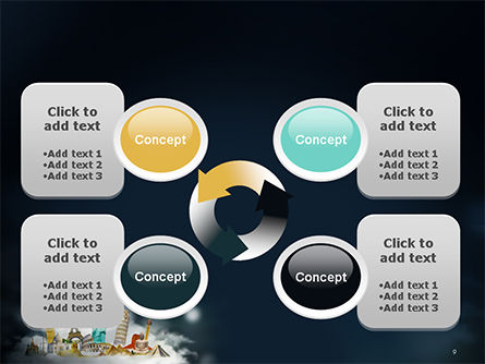Cloud Full of Famous Monuments PowerPoint Template Slide 9