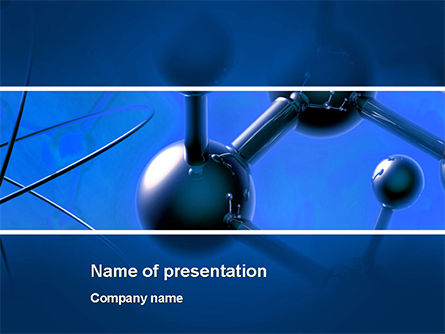 Molecular Lattice In Dark Blue Colors PowerPoint Template, 14712, 3D — PoweredTemplate.com