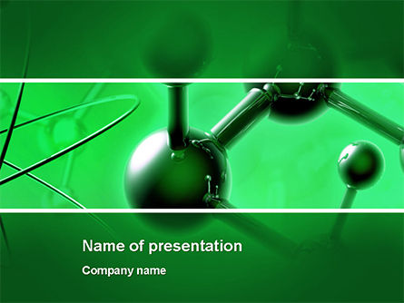 3D: Molecular Lattice In Dark Green Colors PowerPoint Template #14713