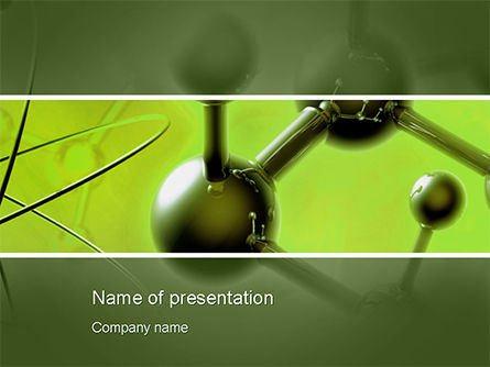 3D: Molecular Lattice In Green Colors PowerPoint Template #14719