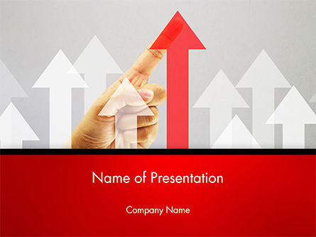 Arrow Grow Up with Human Hand PowerPoint Template, 14720, Business Concepts — PoweredTemplate.com