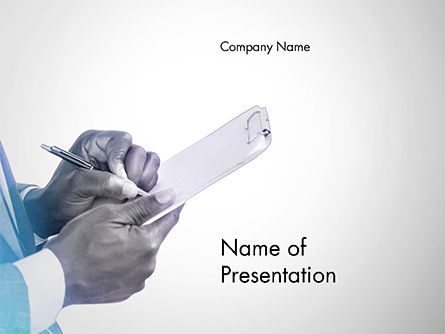 Businessman Writing on Clipboard PowerPoint Template