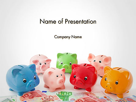 Colorful Piggy Banks PowerPoint Template