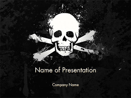 Pirate Flag Black Sails PowerPoint Template, 14728, Flags/International — PoweredTemplate.com