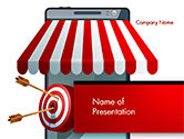 3D: Canopy over Stall and Target with Arrows PowerPoint Template #14732