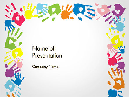 Religious/Spiritual: Frame Made of Colorful Handprints PowerPoint Template #14733
