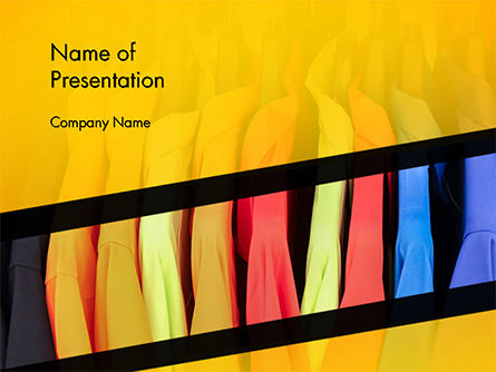 Row of Colorful Shirts in Store PowerPoint Template