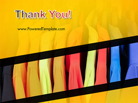 Row of Colorful Shirts in Store PowerPoint Template Slide 20