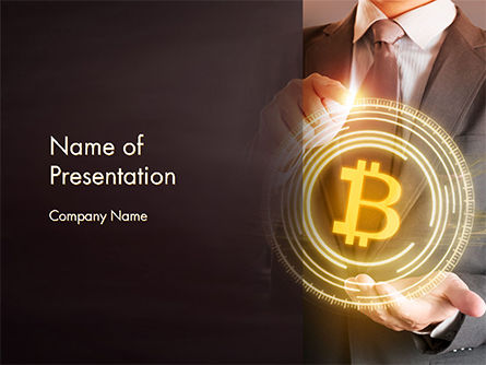 Businessman Control with Bitcoin Technology PowerPoint Template, 14738, Technology and Science — PoweredTemplate.com