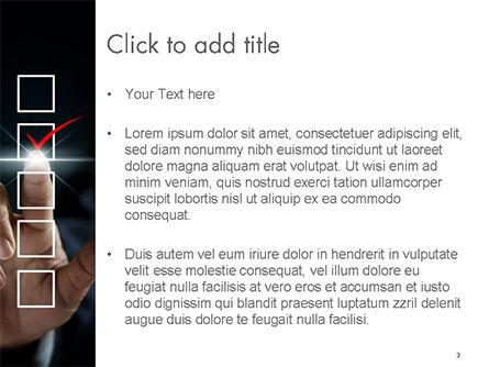 Businessman Checking Mark on Checklist PowerPoint Template, Slide 3, 14740, Business Concepts — PoweredTemplate.com