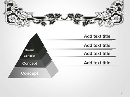 Floral Black and White Border PowerPoint Template Slide 10