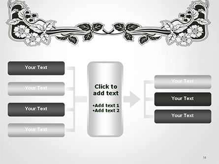 Floral Black and White Border PowerPoint Template Slide 16