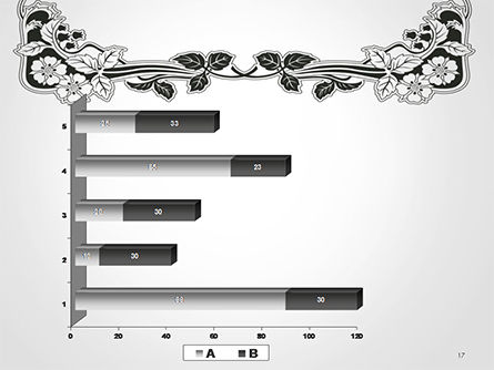 Floral Black and White Border PowerPoint Template Slide 17