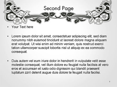 Floral Black and White Border PowerPoint Template, Slide 2, 14745, Abstract/Textures — PoweredTemplate.com