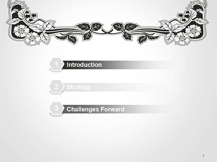 Floral Black and White Border PowerPoint Template, Slide 3, 14745, Abstract/Textures — PoweredTemplate.com