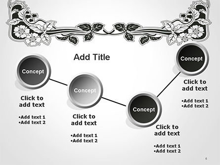 Floral Black and White Border PowerPoint Template Slide 6