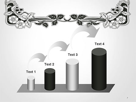 Floral Black and White Border PowerPoint Template Slide 7