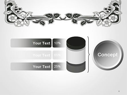 Floral Black and White Border PowerPoint Template Slide 8
