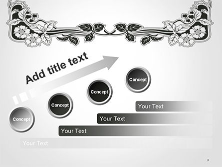 Floral Black and White Border PowerPoint Template Slide 9