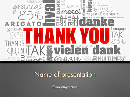 Thank You Word Cloud in Different Languages PowerPoint Template, 14752, Business Concepts — PoweredTemplate.com