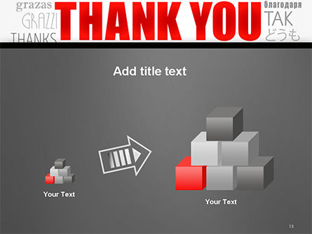 Thank You Word Cloud in Different Languages PowerPoint Template Slide 13