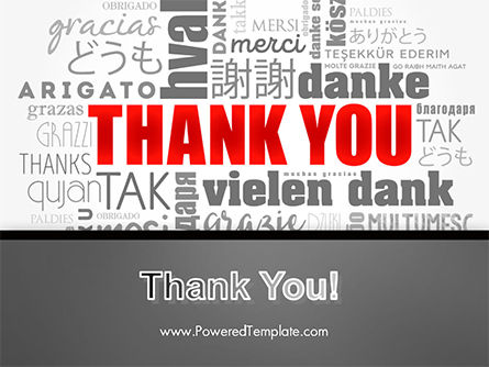 Thank You Word Cloud in Different Languages PowerPoint Template Slide 20