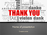Business Concepts: Thank You Word Cloud in Different Languages PowerPoint Template #14752