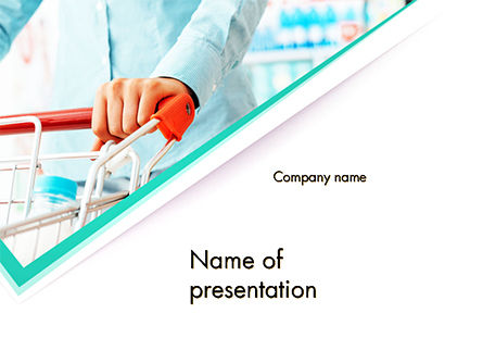 Careers/Industry: Woman Doing Grocery Shopping at Supermarket PowerPoint Template #14753